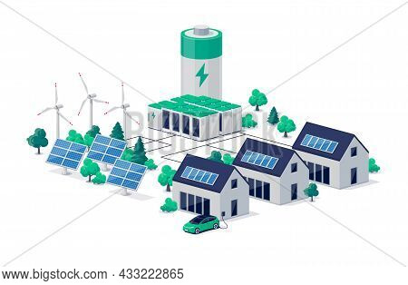 Smart Grid Virtual Battery Energy Storage Network With Urban Residence House Buildings, Solar Panel