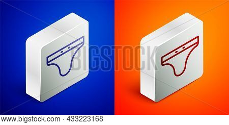 Isometric Line Swimming Trunks Icon Isolated On Blue And Orange Background. Silver Square Button. Ve