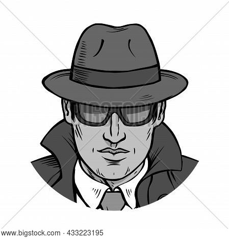 Man Detective Investigating. Dressed In A Retro Raincoat And Hat. Wearing Black Glasses. Cartoon Bla