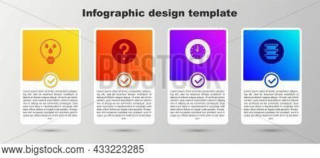 Set Water Drop Forbidden, Unknown Search, Clock And Bowl. Business Infographic Template. Vector