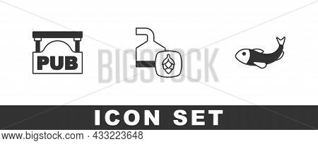 Set Street Signboard With Pub, Beer Brewing Process And Dried Fish Icon. Vector