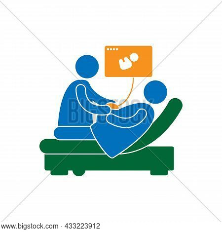 Male Doctor Doing Ultrasound For Pregnant Woman On White Background.