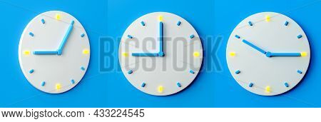 Time Clock Analog White On Pastel Blue Background, Modern Minimal Style For Banner Backlit Hour Need