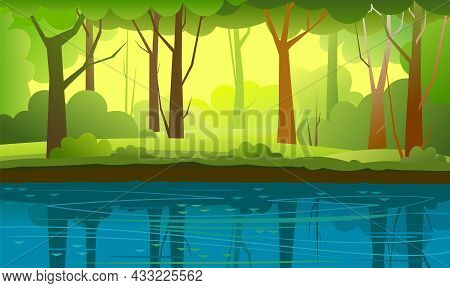 Bank Of River,lake In Summer Forest. Beautiful Natural Wild Landscape. Place For Recreation And Fish