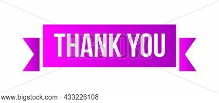 Thank You Sign. Ribbon Banner Thank You
