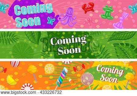 Collection Coming Soon Horizontal Banner Summer Holiday Vector Flat Illustration Promo Advertising