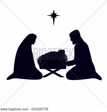 Christmas Story Mary Joseph And Baby Jesus In Manger. Nativity Scene In Silhouette Of Baby Jesus In