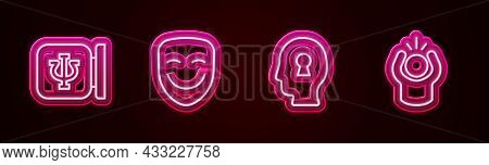 Set Line Psychology, Psi, Comedy Theatrical Mask, Solution To Problem And Anger. Glowing Neon Icon.