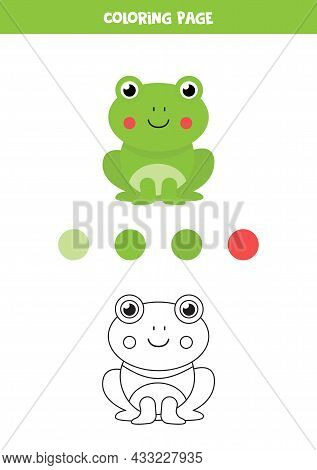 Coloring Page With Cute Cartoon Frog. Worksheet For Children.