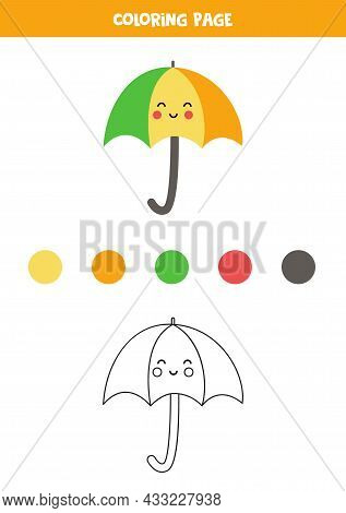 Coloring Page With Cute Umbrella. Worksheet For Children.
