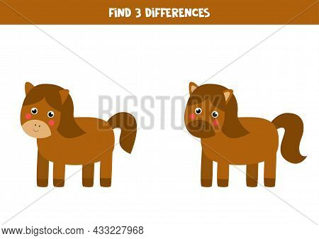 Find Three Differences Between Two Pictures Of Cute Horse.