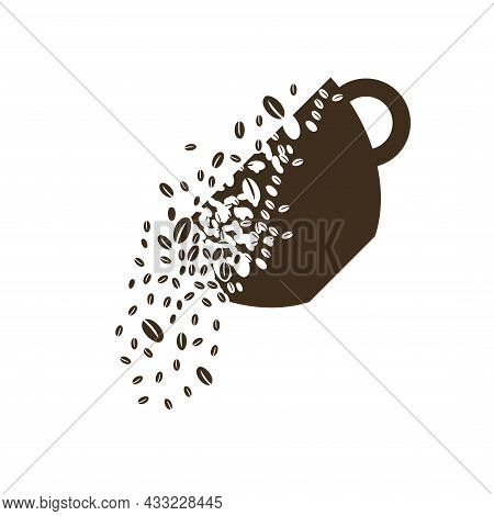 The Shape Of A Cup Or Mug Dissolves Into A Cloud Of Coffee Beans. Coffee Beans Are Poured Out Of The