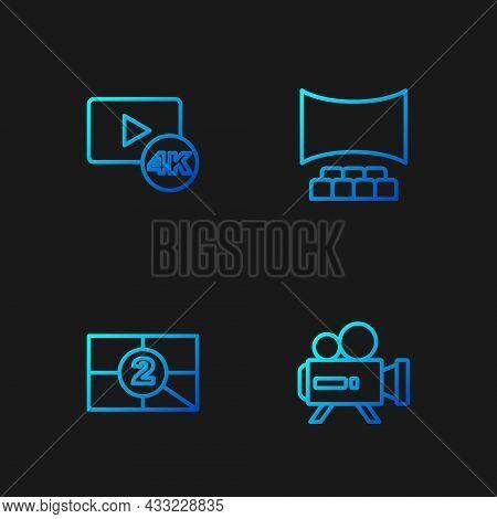 Set Line Retro Cinema Camera, Old Film Movie Countdown Frame, Screen Tv With 4k And Cinema Auditoriu