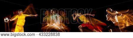 Sportsmen Playing Basketball, Tennis, Soccer Football, Gymnastics On Black Background In Mixed Light