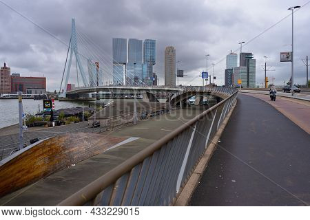 15 September 2021, Rotterdam . South Holland, Netherlands View On The Erasmus Bridge The Cable-staye