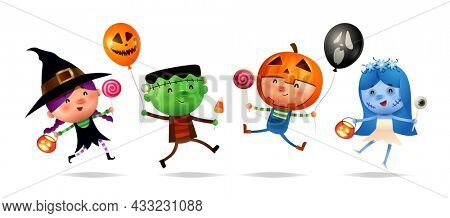 Halloween Kids Costume Party. Group of kids in Halloween costume. Isolated.