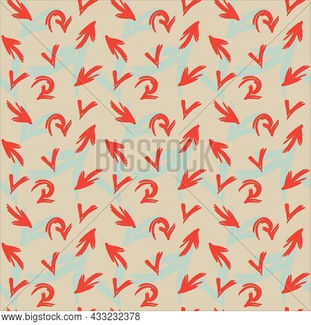 Red And Green Arrows Seamless Pattern. Hand Drawn Vector Background.