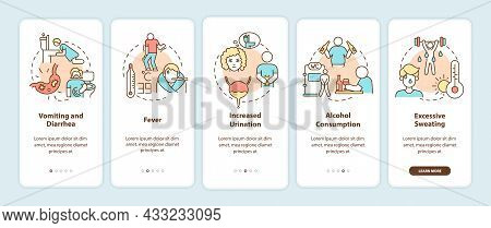 Dehydration Causes Onboarding Mobile App Page Screen. Loss Of Water Factors Walkthrough 5 Steps Grap