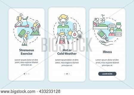 Increased Fluid Consumption Onboarding Mobile App Page Screen. Rehydration Walkthrough 3 Steps Graph