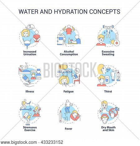 Water And Hydration Concept Icons Set. Dehydration Causes, Symptoms. Additional Liquid Consumption.