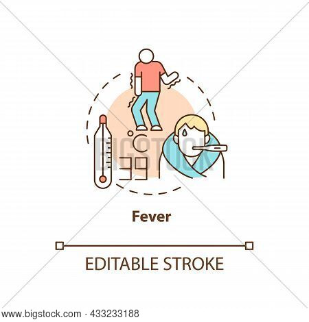 Fever Concept Icon. High Temperature And Sweating Lead To Water Loss. Flu Chills. Dehydration Abstra