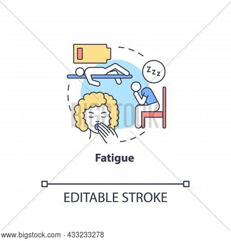 Fatigue Concept Icon. Fluid And Electrolytes Loss Can Cause Fatigue. Low Energy And Weakness. Dehydr