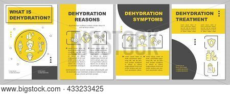 Dehydration Yellow Brochure Template. Water Loss Reasons. Flyer, Booklet, Leaflet Print, Cover Desig