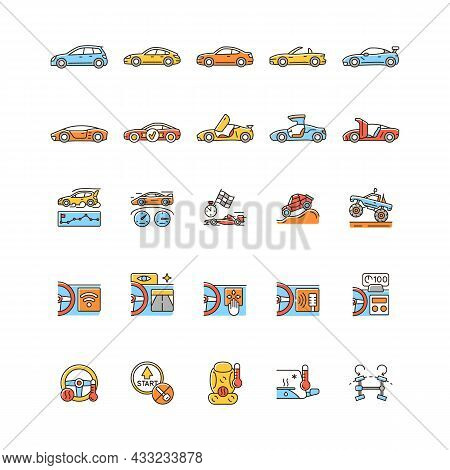 Auto Racing Rgb Color Icons Set. Driving Sports Cars. Innovative Tech Features. Advanced Automotive