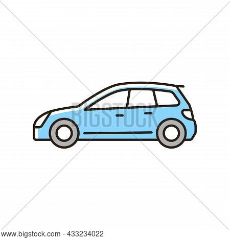 Hatchback Rgb Color Icon. Cheap Sports Car. Auto With Two-box Design. Access To Cargo Area. Vehicle