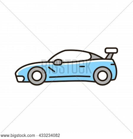 Customized Sports Car Rgb Color Icon. Designing Vehicle For Street Racing. Upgrading Automobile Perf