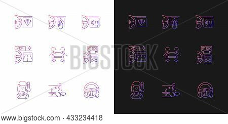 Sports Car Accessories Gradient Icons Set For Dark And Light Mode. Innovative Tech Features. Thin Li