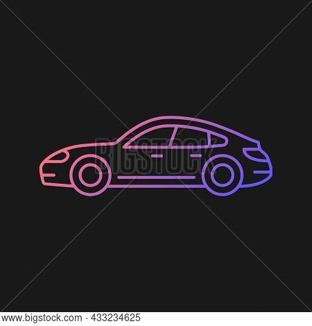 Sports Sedan Gradient Vector Icon For Dark Theme. Luxury Passenger Vehicle. Four-door Sports Automob