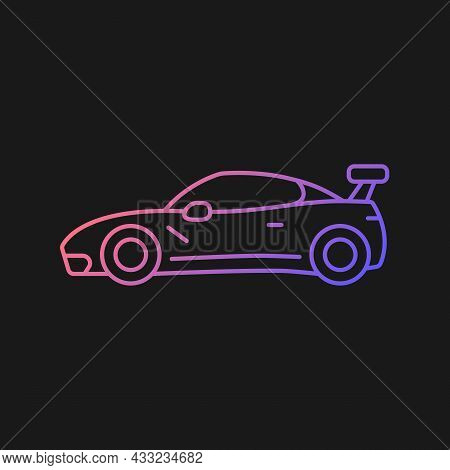 Customized Sports Car Gradient Vector Icon For Dark Theme. Designing Vehicle For Street Racing. Upgr