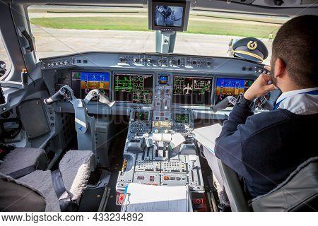 Ukraine, Kyiv - October 29, 2019: Airplane Cockpit Aircraft -embraer. Plane Instrument Panel. Pilot