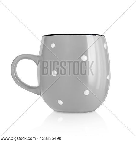 Ceramic Cup. Ceramic Mug With Pattern Isolated On White Background. Cup With A Handle. Gray Mug. Dis