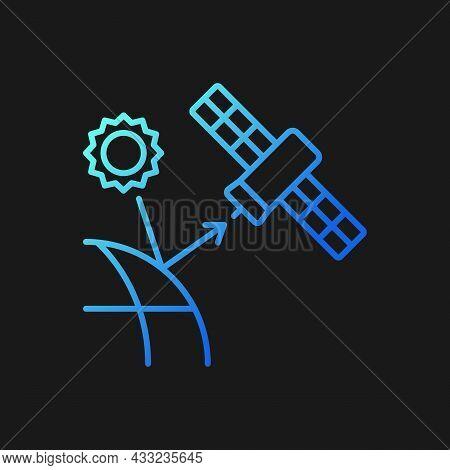 Remote Sensing Satellite Gradient Vector Icon For Dark Theme. Digital Earth Conceptualization. Earth