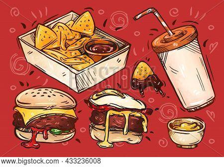 Fast Food Illustration. Hand Drawn Sketch. Nachos, Barbecue Sauce, Mustard, Soda, Cheeseburger, Burg