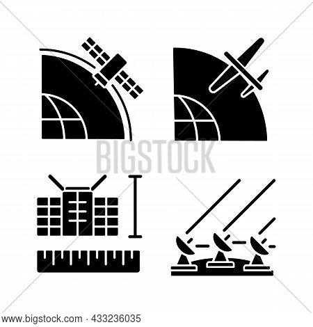 Satellite Technologies Black Glyph Icons Set On White Space. Ground Satellite System. Geostationary,