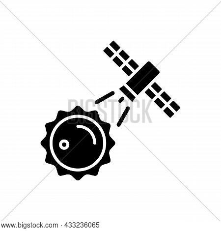 Sun Observation Process Black Glyph Icon. Interstellar Research Mission. Heliophysics Science Invest