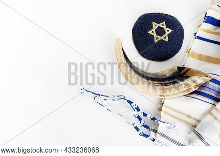 Yom Kippur, Rosh Hashanah, Jewish New Year Holiday, Concept. Religion Image Of Shofar - Horn On Whit