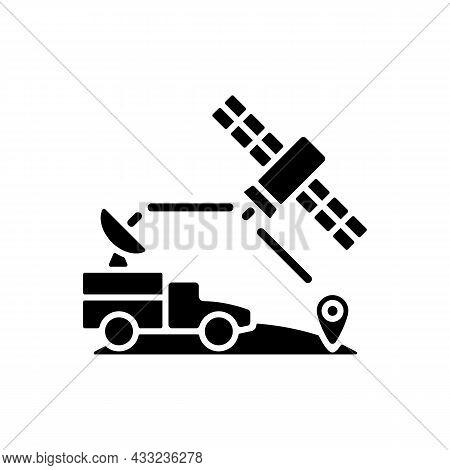 Military Use Of Satellites Black Glyph Icon. Signal Receiving Dish Satelite. Military Communication,