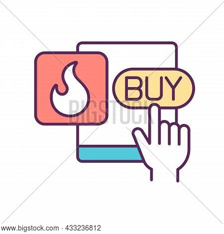 Hot Offer Rgb Color Icon. Special Proposal. Marketing And Promotion. Online Purchase. Impulsive And