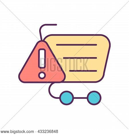 Shopping Trolley With Warning Sign Rgb Color Icon. Buying At Supermarket. Stop Consumerism. Avoid Ex