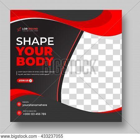 Fitness Gym Social Media Post Banner Template With Black And Red Color, Gym Social Media Banner, Vec