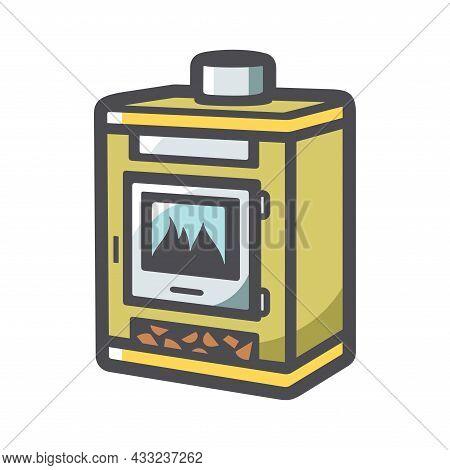 Fireplace Home Hearth Vector Icon Cartoon Illustration