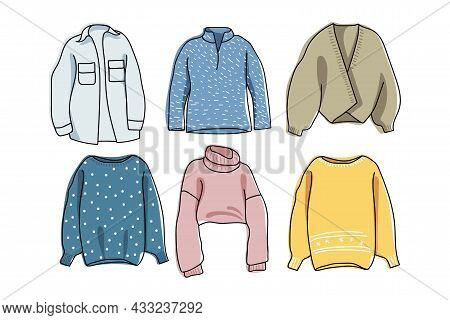 Warm Clothing Set. Winter Knitted Sweaters For Home, Walking And Relaxing. Cozy Warm Sweaters In Dif