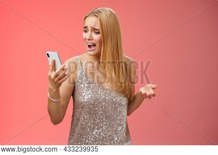 Troubled Concerned Arrogant Young Blond Woman Complaining Yelling Smartphone Cannot Call Friend No S