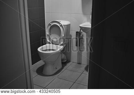 Wc Pan Detail In White, White Toilet Bowl, Interior Of Toilet Room.