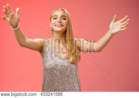 Friendly Charming Tender Hospitable Attractive Birthday Girl In Luxury Silver Dress Welcoming Guests