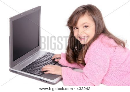 Computer Laptop And Young Girl